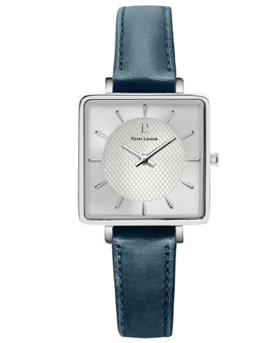 Quartz Ladies Watch LECARÉ Silver Dial Blue Leather Strap