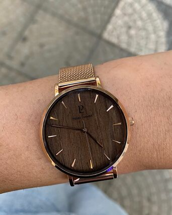 Quartz Ladies Watch NATURE Brown Dial Rose Gold colour Mesh steel Strap
