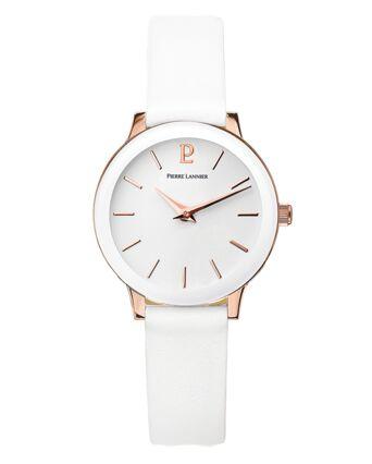 Montre Femme LIGNE PURE Cadran Blanc Bracelet Cuir Blanc