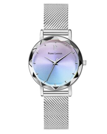 Quartz Ladies Watch MULTIPLES Multicoloured Dial Silver Mesh Strap