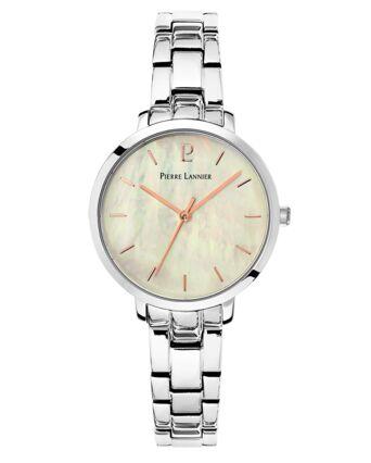 Montre Femme AURA Cadran Blanc Bracelet Acier Argenté