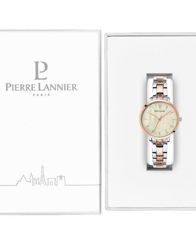 Montre Femme AURA Cadran Blanc Bracelet Acier Bicolore