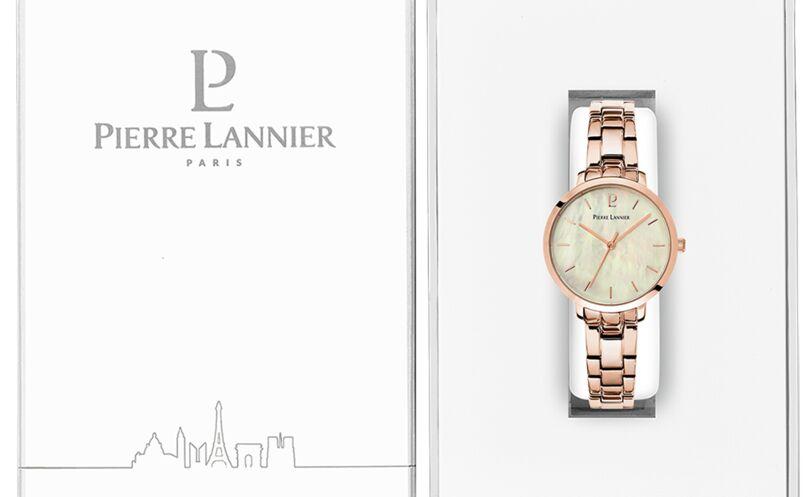 Montre Femme AURA Cadran Blanc Bracelet Acier Doré-rose