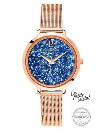 Montre Femme PETITE CRISTAL Cadran Bleu Bracelet Acier Doré rose