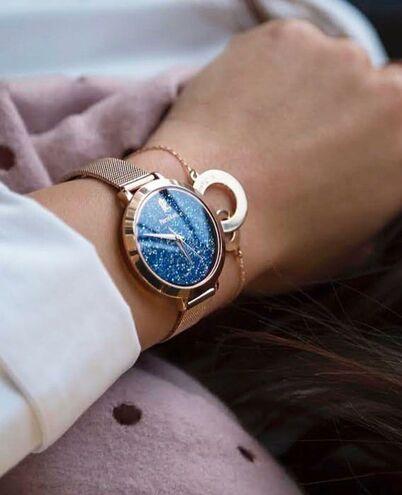 Quartz Ladies Watch PETITE CRISTAL Blue Dial Rose Gold colour Steel Strap