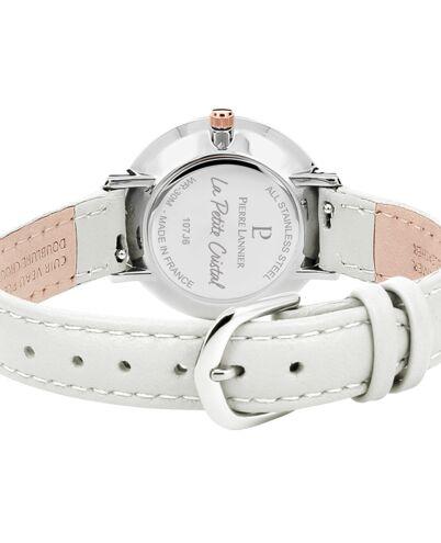 Montre Femme PETITE CRISTAL Cadran blanc Bracelet Cuir Beige