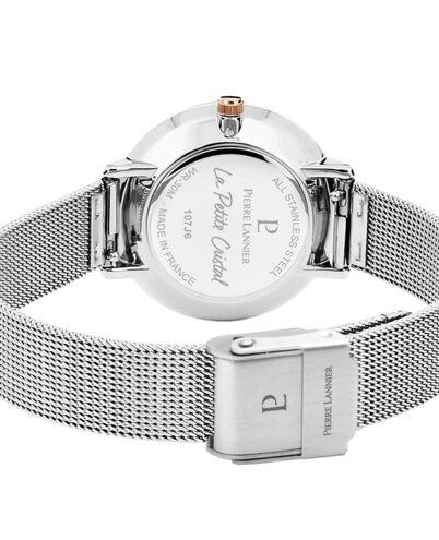 Montre Femme PETITE CRISTAL Cadran Blanc Bracelet Acier milanais Argenté