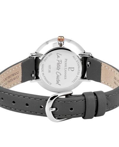 Quartz Ladies Watch PETITE CRISTAL White Dial Grey Leather Strap
