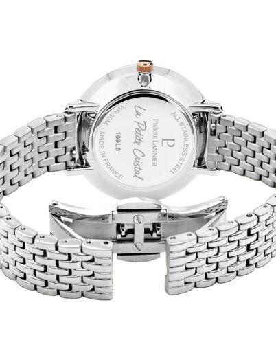 Montre Femme Petite Cristal Cadran Blanc Bracelet Acier