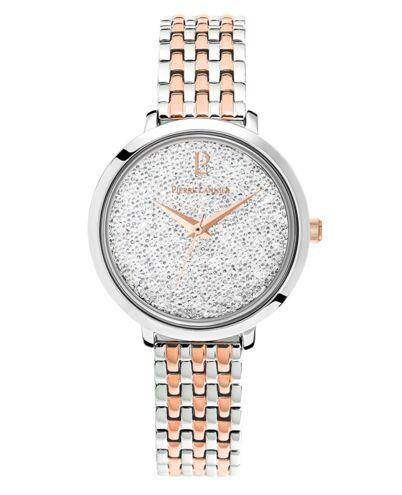 Montre Femme Petite Cristal Cadran Blanc Bracelet Acier bicolore