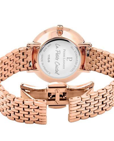 Montre Femme Petite Cristal Cadran Blanc Bracelet Acier Doré-rose