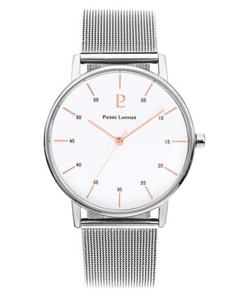 Quartz Men's Watch CITYLINE White Dial Silver Mesh steel Strap