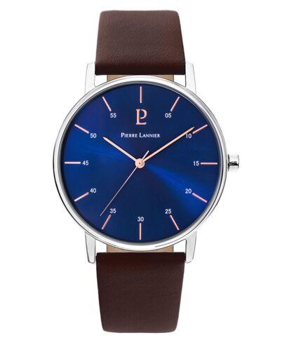 Quartz Men's Watch CITYLINE Blue Dial Brown Leather Strap