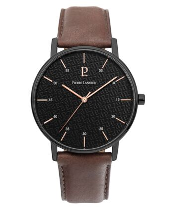 Quartz Men's Watch CITYLINE Black Dial Brown Leather Strap