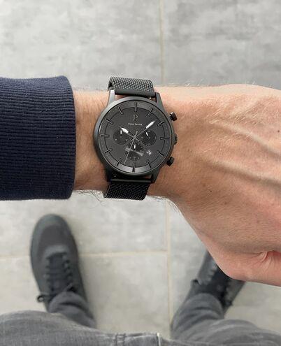 Montre Homme ABSOLU Cadran Noir Bracelet Acier Milanais Noir
