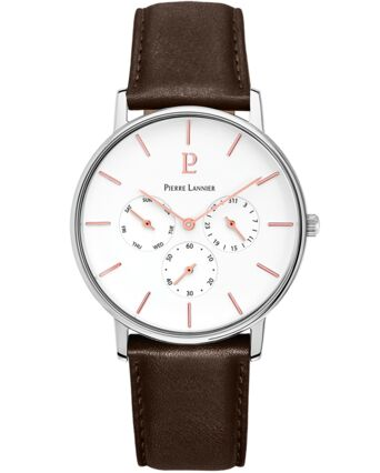 Quartz Men's Watch CITYLINE White Dial Brown Leather Strap