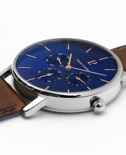 Montre Homme CITYLINE Cadran Bleu Bracelet Cuir Brun