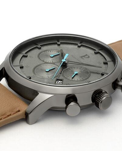 Quartz Men's Watch DUNE Grey Dial Sand Leather Strap