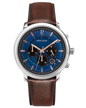 Quartz Men's Watch IMPULSION Blue Dial Brown Leather Strap