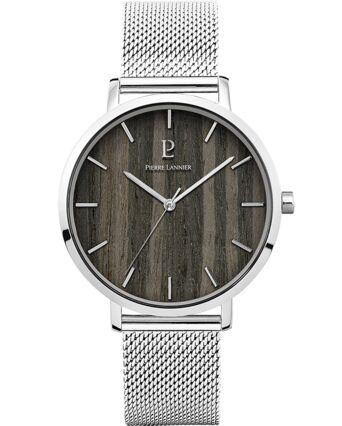 Quartz Men's Watch NATURE Black Dial Silver Mesh steel Strap