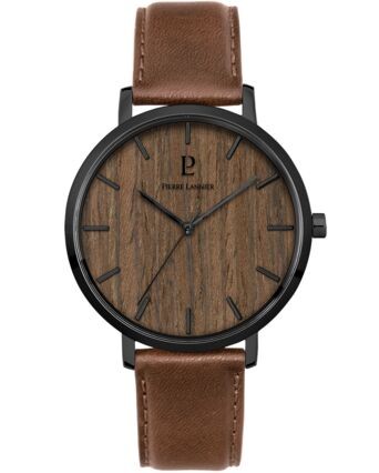 Quartz Men's Watch NATURE Brown Dial Brown Leather Strap