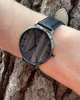 Montre Homme NATURE Cadran Noir Bracelet Cuir Noir