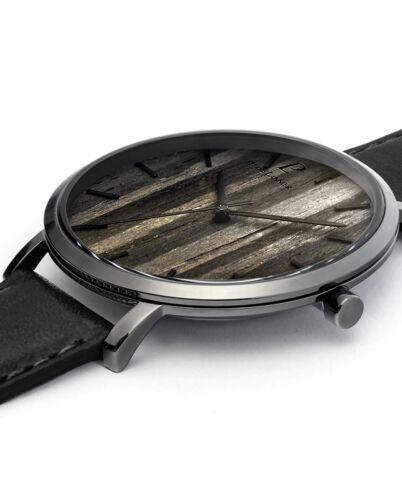 Quartz Men's Watch NATURE Black Dial Black Leather Strap