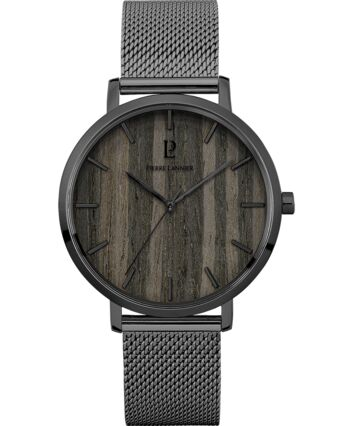 Quartz Men's Watch NATURE Black Dial Grey Mesh steel Strap