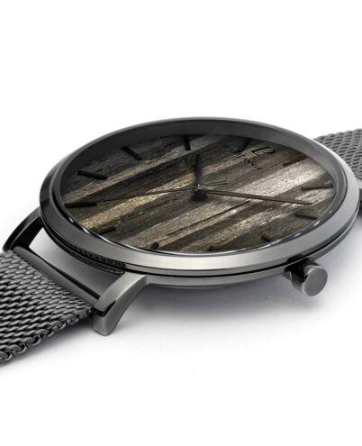 Quartz Men's Watch NATURE Black Dial Grey Mesh steel Strap