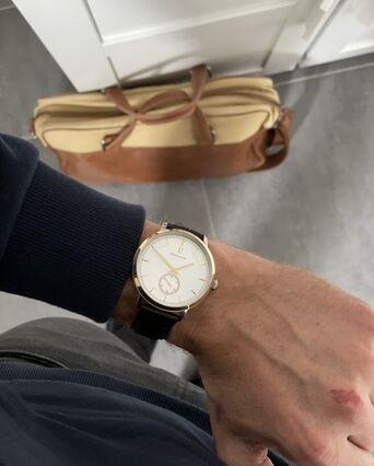 Montre Homme ALLURE Cadran Argenté Bracelet Cuir Brun
