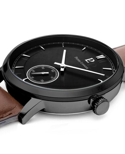 Quartz Men's Watch ALLURE Black Dial Brown Leather Strap