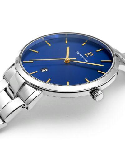 Quartz MEN Watch ECHO Blue Dial Silver Steel Strap