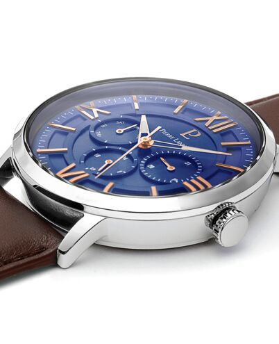 Montre Homme BEAUCOUR Cadran Bleu Bracelet Cuir Brun