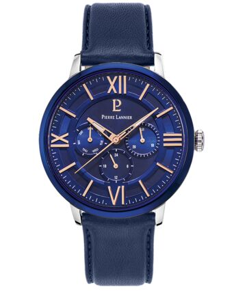 Quartz Men's Watch BEAUCOUR Blue Dial Blue Leather Strap
