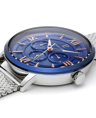 Quartz Men's Watch BEAUCOUR Blue Dial Silver Mesh steel Strap