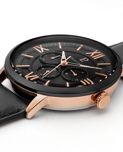 Quartz Men's Watch BEAUCOUR Black Dial Black Leather Strap