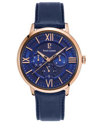 Quartz Men's Watch BEAUCOUR Blue Dial Blue Leather Strap