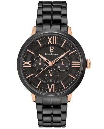 Quartz Men's Watch BEAUCOUR Black Dial Black Steel Strap