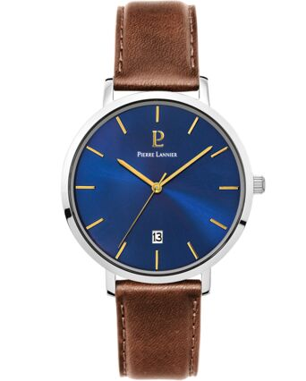 Quartz Men's Watch ECHO Blue Dial Brown Leather Strap