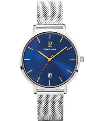 Quartz Men's Watch ECHO Blue Dial Silver Mesh steel Strap