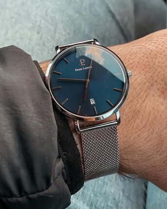 Montre Homme ECHO Cadran Bleu Bracelet Acier Milanais Argenté