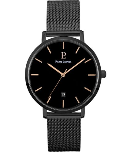 Quartz Men's Watch ECHO Black Dial Black Mesh steel Strap