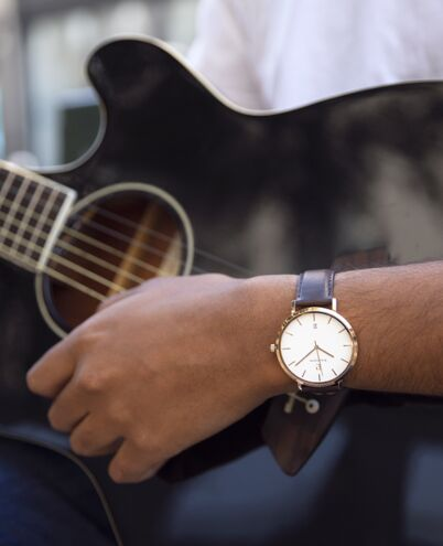 Quartz Men's Watch ECHO White Dial Brown Leather Strap