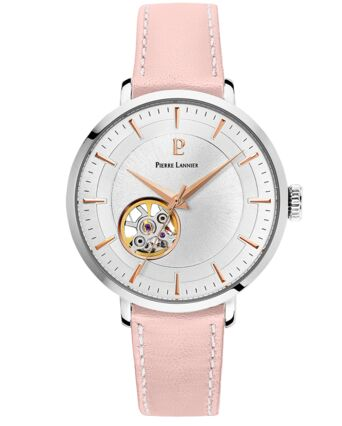 Automatic Ladies Watch AUTOMATIC Silver Dial Rose Leather Strap