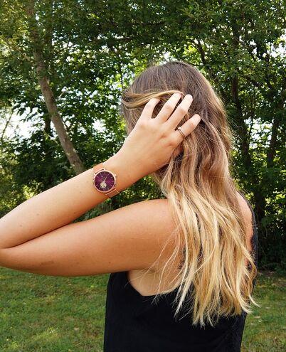 Montre Femme AUTOMATIC Cadran Framboise Bracelet Acier Milanais Doré-rose
