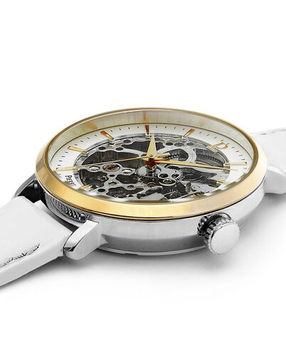 AUTOMATIC Ladies Watch AUTOMATIC White Dial White Leather Strap