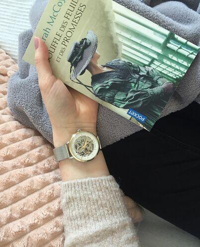Montre Femme AUTOMATIC Cadran Blanc Bracelet Acier milanais Argenté