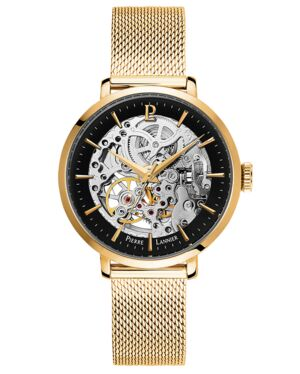 AUTOMATIC Ladies Watch AUTOMATIC Black Dial Gold Strap