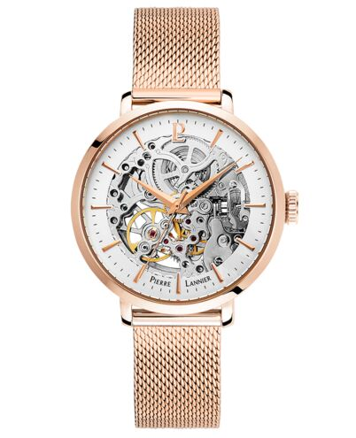 AUTOMATIC Ladies Watch AUTOMATIC Silver Dial Rose Gold colour Strap
