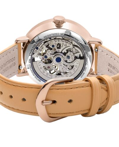 AUTOMATIC Ladies Watch AUTOMATIC Silver Dial Camel Leather Strap